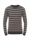 Sweter gray knitted gray striped