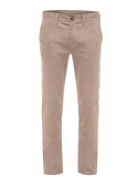 Trousers are light brown corduroy cotton