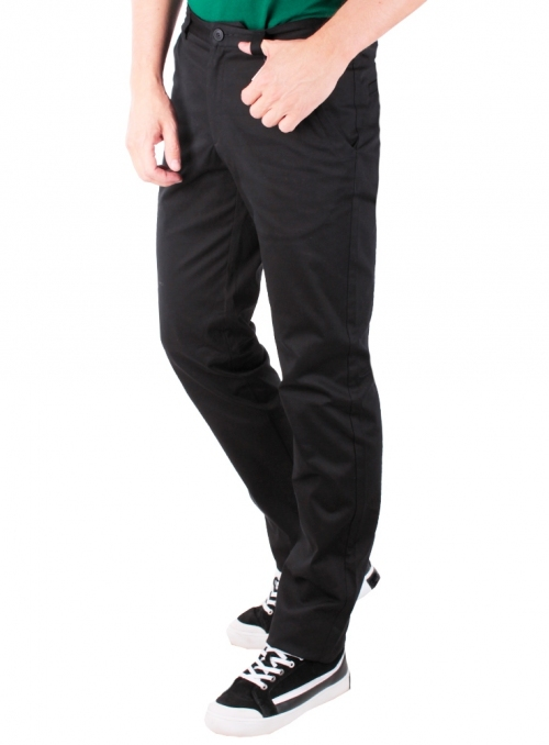 Trousers are cotton black monophonic