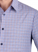 Casual Gray-Red Cotton Checked Shirt