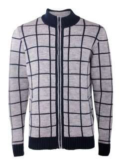 Cardigan men's knitted gray striped