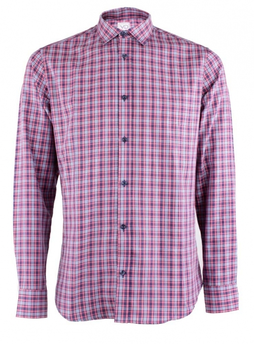 Casual Red-Blue Cotton Checked Shirt