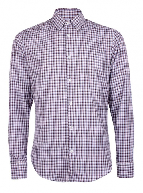 Casual white and brown cotton checked shirt