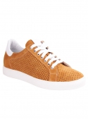 Perforated leather mustard sneakers