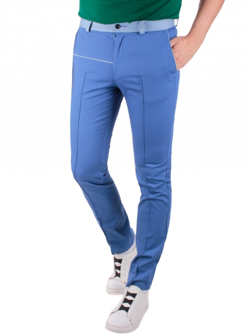 Trousers are cotton blue monophonic