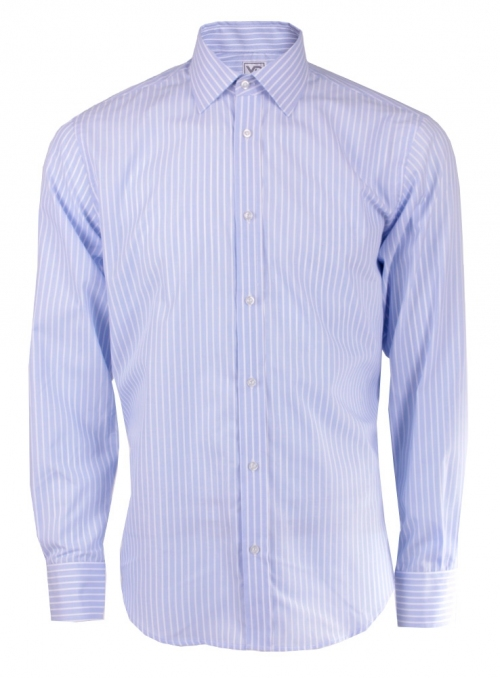 Blue classic cotton striped shirt