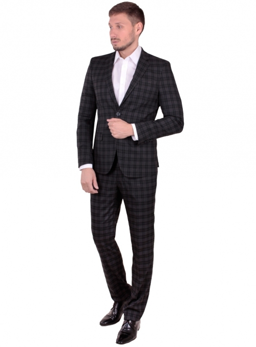 Man's suit black woolen in a brown cage