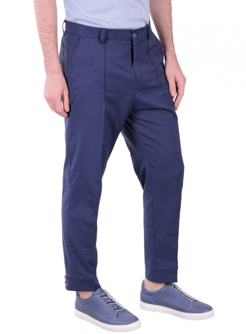 Trousers are man's blue monophonic cotton