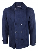 The jacket coat is man's knitted blue