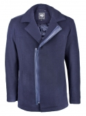 Men's blue cropped woolen coat with inserts