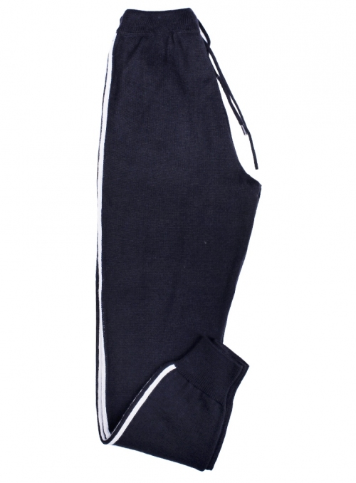 Men's casual pants wool black with white stripes