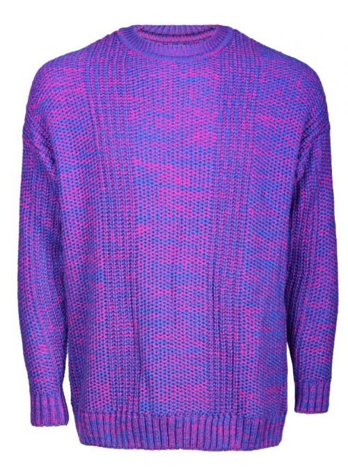 Men's sweater blue-raspberry melange