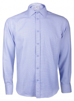 Classic blue cotton shirt in a pattern