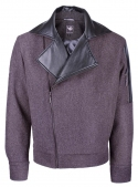 The coat is man's the shortened woolen gray with inserts