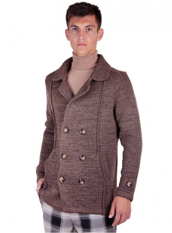 Coats, jackets knitted brown