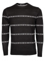 Jumper men's knitted black with a logo