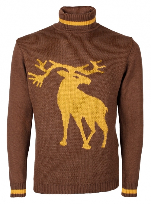 Men's golf knitted brown with a tied deer