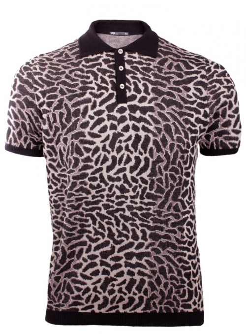 Men's knitted polo with gepard skin