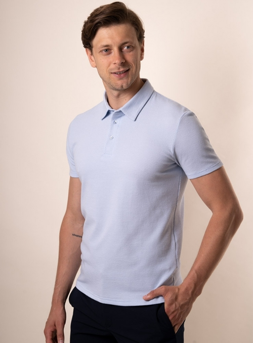 Men's light blue polo