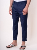 Trousers are man's dark blue monophonic cotton