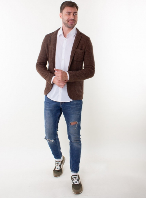 Jacket cotton knitted blue