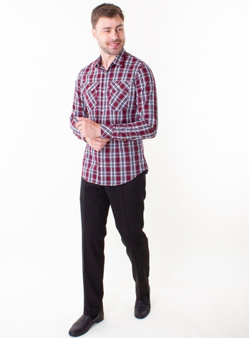 Casual Blue and White Cotton Checked Shirt