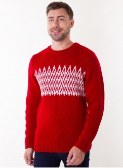 Knitted red sweater for men