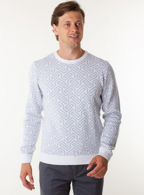 Knitted white sweater for men