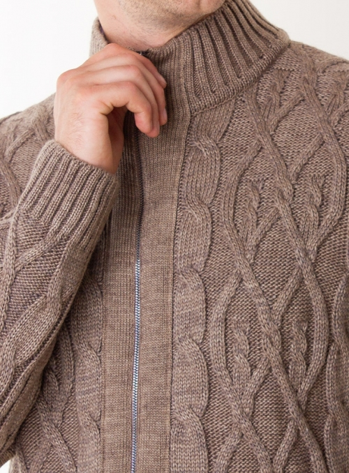 Men's cardigan knitted beige on lightning