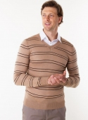 Knitted beige pullover with V-neck and stripes
