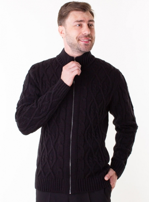 Men's knitted burgundy sweater with zippers