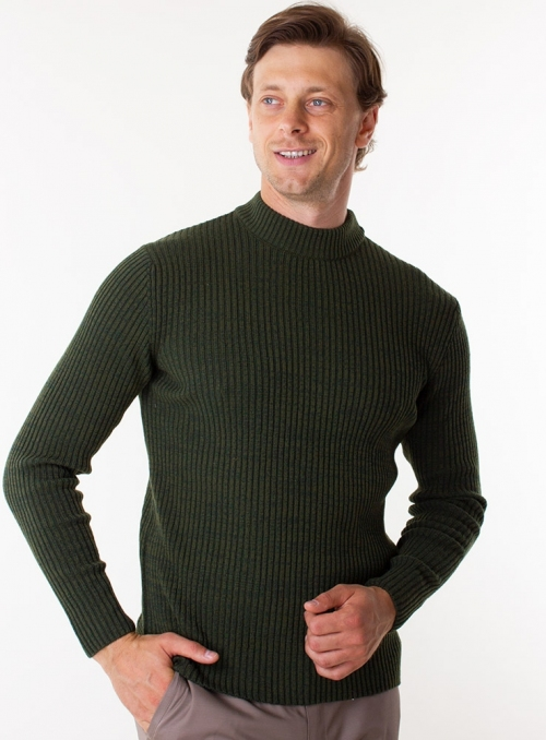 Men's green sweater in rib knit