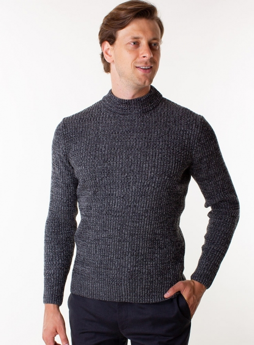 Men's charcoal sweater in rib knit.