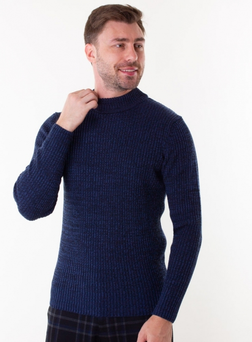 Men's navy sweater in rib knit.