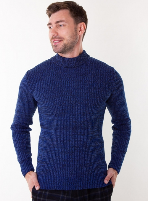 Men's blue melange sweater in rib knit.