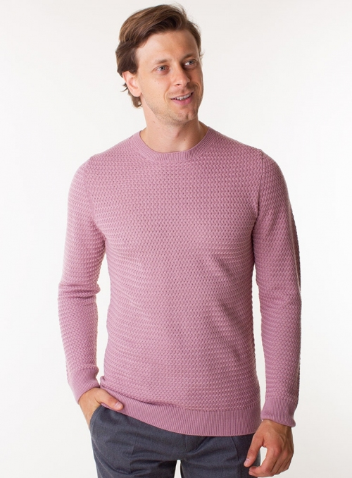 Men's salmon wool sweater.