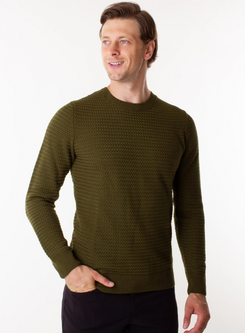 Men's olive wool sweater