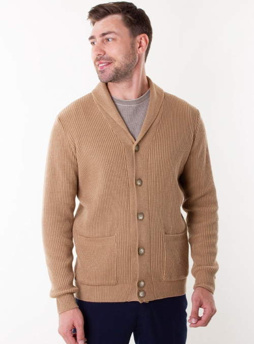 Men's beige cardigan in volumous knit