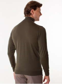 Men's khaki rollneck in a fine knit