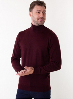 Men's dark wine rollneck in a fine knit