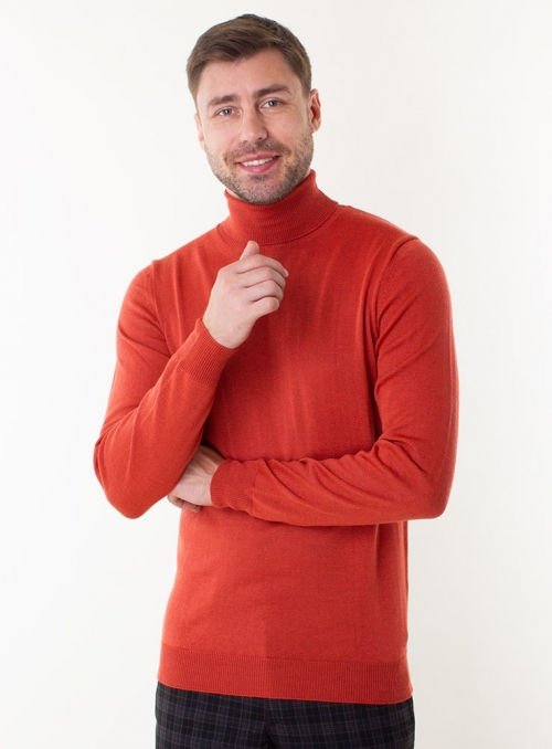 Men's brick rollneck in a fine knit