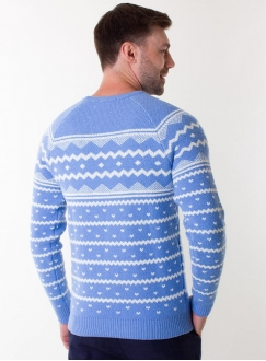 Men's sky-blue sweater in volumous knit
