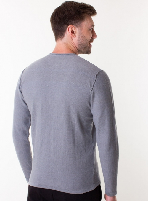 Men's grey jumper in a fine knit