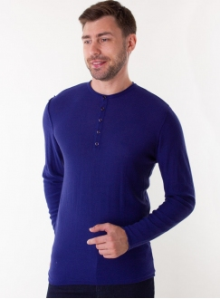 Men's blue jumper in a fine knit