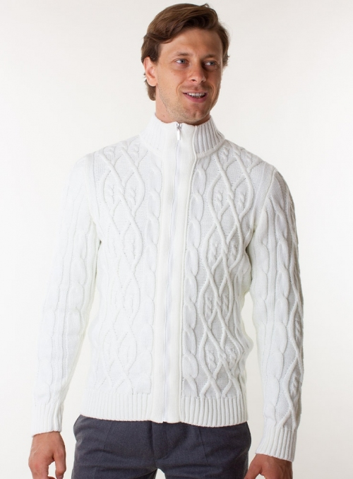 Men's white cardigan in volumous knit