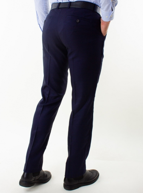 Men's navy check trousers