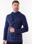 Men's brown knitted blue checked jacket
