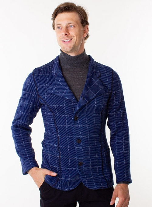 Knitted blue men's jacket in a white cage