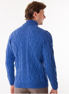 Men's sky-blue cardigan in volumous knit