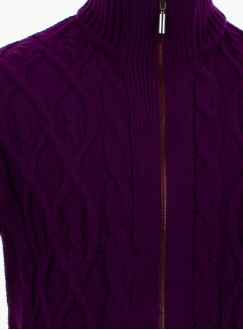 Men's violet cardigan in volumous knit